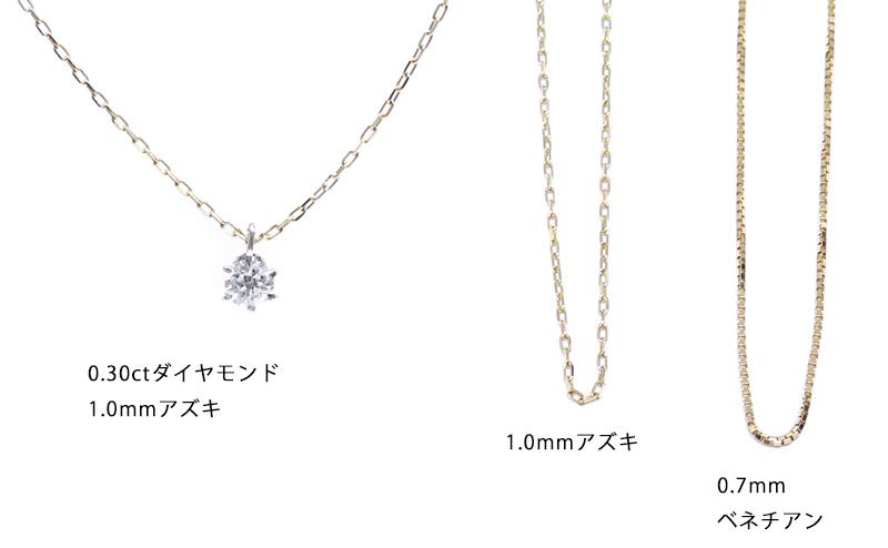 ダイヤモンドとアズキチェーンの比較